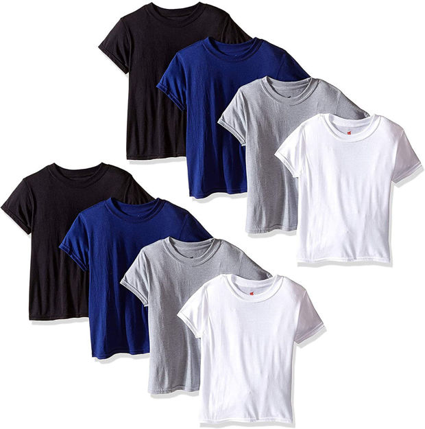 Hanes Big Boys T-Shirts-8 Pack Tees X-Temp Crew T-Shirts for Boys 4 Colors