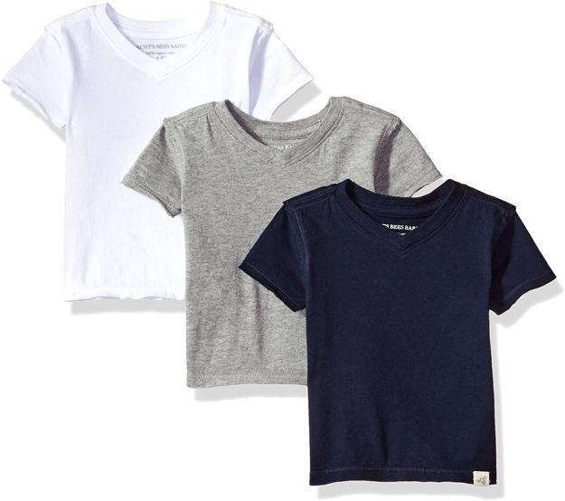 Burt's Bees Baby - Baby Boys' T-Shirts, Set of 3 Organic Short Sleeve V-Neck Tees