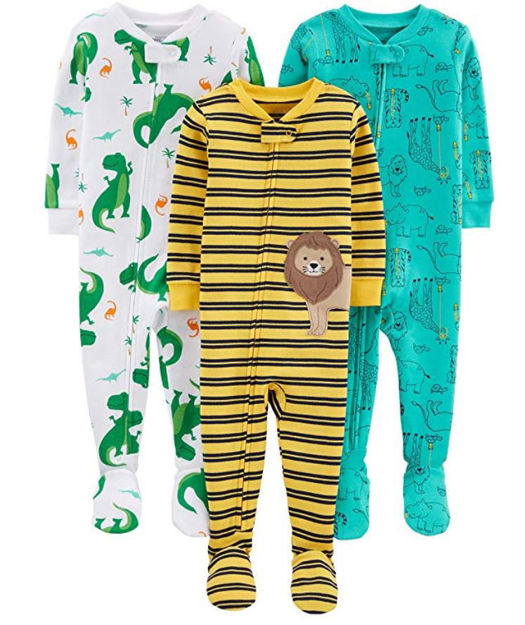 Picture of Simple Joys by Carter's Boys' 3-Pack Snug Fit Footed Cotton Pajamas