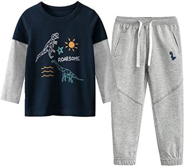 Picture of Coralup Little Boys and Girls Truck Lapel T-Shirt & Pants 2pcs Set A911(18M,Blue)