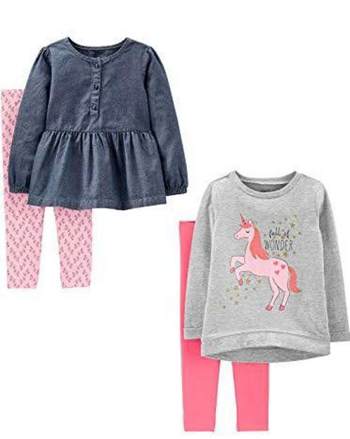 Picture of Simple Joys by Carter's Girls' 4-Piece Long-Sleeve Shirts and Pants Playwear Set